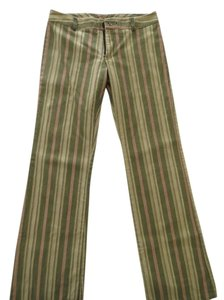 Tailor New York Mod Boho Summer Earth-tone Flare Pants Olive, Ecru, & Peach stripe
