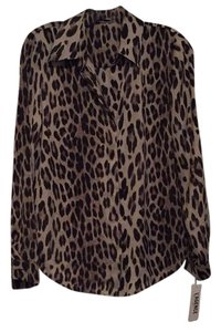L'AGENCE Top Leopard print. Brown.