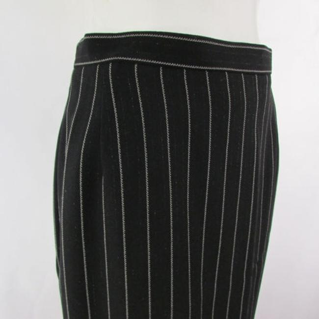 Escada Women White Stripes Wool Blend Classic Pencil Suit Skirt Blacks