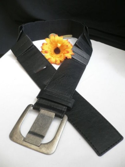 Other Women Hip Elastic Faux Leather Black Fashion Belt Square Buckle 26-37 Xs-l