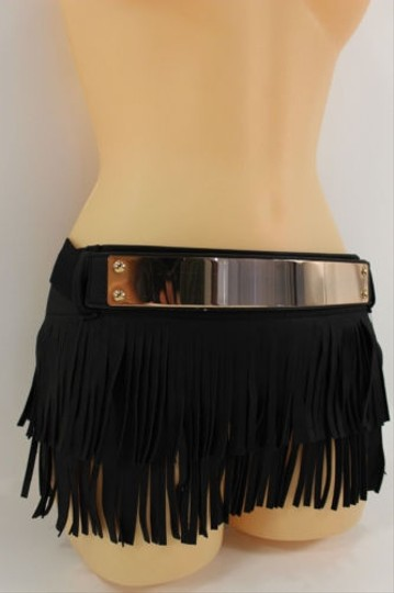 Other Women Hip Fashion Gold Metal Belt Black Long Fabric Fringes Skirt 32-35