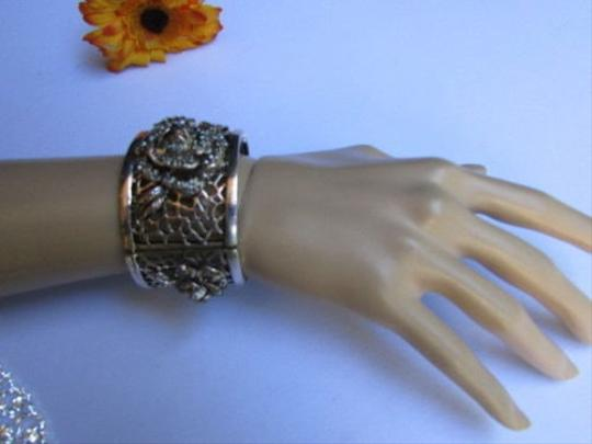 Other Women Fashion Bracelet Silver Pewter Elastic Metal Roses Flowers Rhinestones