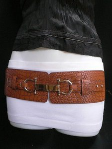 Women Fashion Belt Hip Waist Elastic Moca Brown Western Silver 29-38