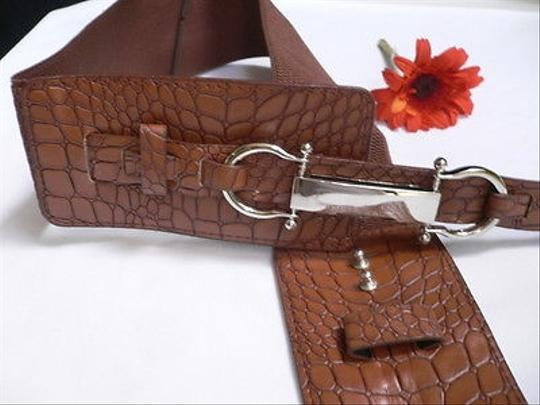 Other Women Fashion Belt Hip Waist Elastic Moca Brown Western Silver 29-38