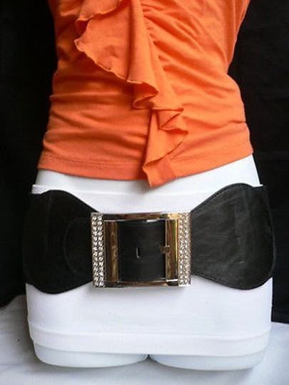Other Women Belt Fashion Summer Black Wide Elastic Silver Square 28-38