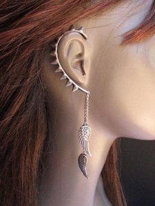 Women Earring Fashion Rusty Silver Spikes Over The Ear Cuff Angels Wings Set