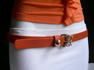 Other Women Belt Fashion Faux Leather Thin Orange Big Gold Owl Buckle 31-38