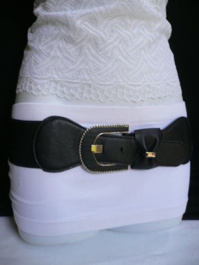 Other Women Belt Fashion Elastic Hip Waist Black Bow Silver Buckle 28-36