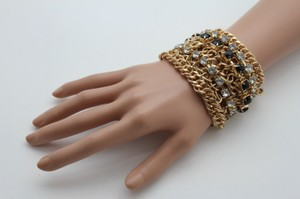 Women Bracelet Silver Black Beads Wide Gold Metal Chunky Chain Thick Links