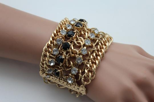 Other Women Bracelet Silver Black Beads Wide Gold Metal Chunky