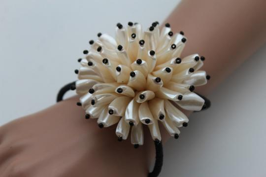 Other Women Bracelet Big Cream Flower Charm Elastic Metal Cuff Band Fashion Jewelry