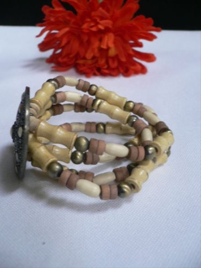 Other Women Bracelet Fashion Beige Brown Wood Beads Native Style Gold Cream Dots