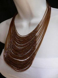 Women Necklace Long Beads Brown Thin Slice Silver Pink Elegant Dresy Style