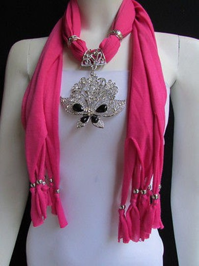 Preload https://item5.tradesy.com/images/women-pink-soft-fabric-fashion-scarf-necklace-silver-flowers-butterfly-pendant-4287889-0-0.jpg?width=440&height=440