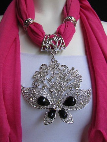Other Women Pink Soft Fabric Fashion Scarf Necklace Silver Flowers Butterfly Pendant