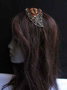 Other Women Fashion Brown Beads Rhinestones Big Leaf Leaves Head Band Hair Accessories