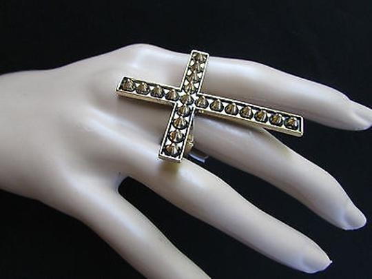 Other Women Ring Cross Statement Long Metal Big Fashion Elastic Antique Gold Spike