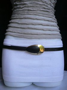 Other Women Belt Retro Gold 70s Buckle Thin Black Faux Leather 33-39
