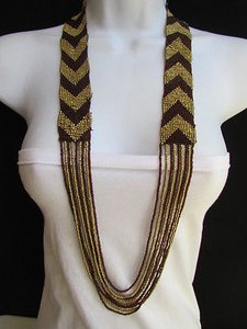 Other Women Necklace Fashion Long Fashion Gold Brown Beads Trendy Hawaiian Beach