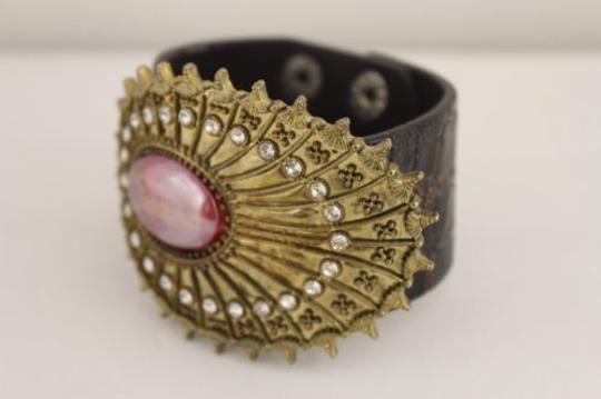 Other Women Oval Antique Gold Brown Faux Leather Bracelet Fashion Big Rhinestones