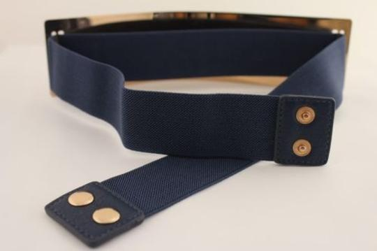 Other Women Elastic Belt Dark Blue High Waist Gold Metal Mirror Plate Fashion