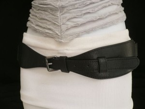 Other Women Belt Fashion Hip Waist Elastic Faux Leather Black Long 27-34 Sm