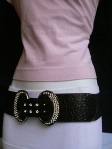 Women Belt Fashion Hip Waist Elastic Black Silver Rhinestones