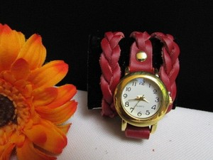 Women Watch Bracelet Fashion Gold Faux Leather Red Wrap Around White Dail