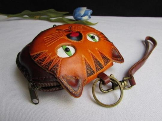 Other Women Wallet Brown Cat Fish Purse Coin Bag Key Chain Genuine Leather
