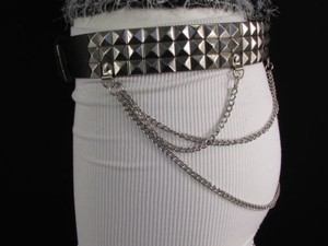 Women Men Black Belt Faux Leather Punk Fashion Silver Metal Chains
