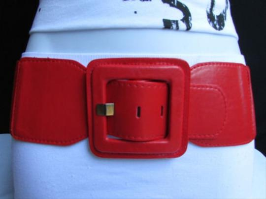 Other Women High Waist Hip Red Elastic Fashion Belt Square Buckle Fits 27-35