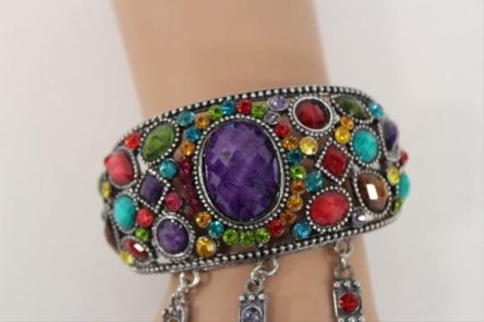 Other Women Silver Metal Flower Bracelet Chain Slave Ring Purple Red Rhinestones