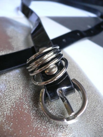 Other Women Hip Waist Narrow Black Fashion Belt Silver Rings Buckle 27-36