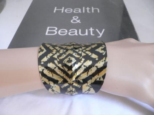 Other Women Gold Metal Cuff African Drawings Black Rusty Gold Color Adjustable