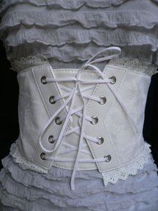 Other Women Cream White Fashion Tie Corset Waist Hip Belt Plus