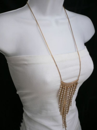 Other Women Gold Metal Multi Chains Long Fashion Necklace Silver Rhinestones 13