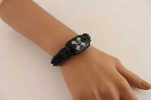 Other Women Black Beige Bracelet Leather Braided Fashion Yin Yang Cupid Heart