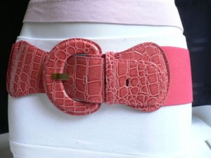 Other Women Hip Elastic Belt Waist Bright Pink Crock Print Stretch One