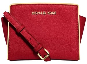 Michael Kors Saffiano Leather Gold Edge Rare Limited Edition Specchio Cross  Body Bag b01858b922eb9