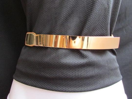 Other Women Waist Hip Gold Metal Plate 0.75 Thin Fashion Belt Elastic 26-37