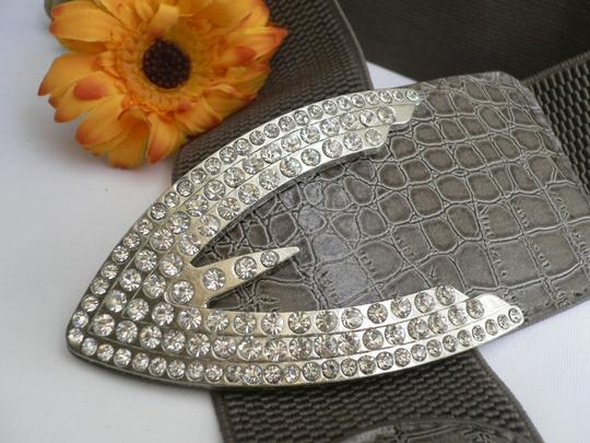 Other Women Waist Hip Gray Elastic Fashion Belt Silver Rhinestones Buckle Arrow