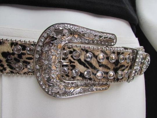 Other Women Bel Leopard Animal Print Leather Rhinestones Silver Buckle 35-40