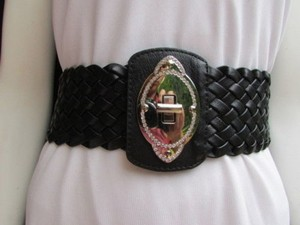 Women Belt Fashion Waist Hip Black Elastic Braided Wide Buckle 32-38