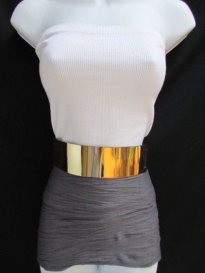 Other Women Waist Hip Wide Gold Metal Plate Fashion Belt Black Elastic 27-37
