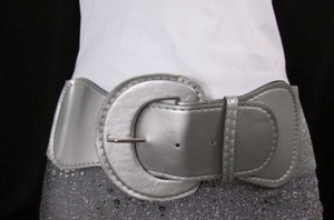 Women Low Hip Elastic High Waist Metallic Silver Fashion Belt 30-45