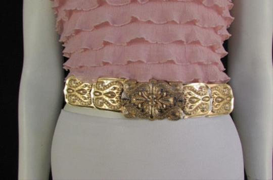 Other Women Elastic Hip Waist Fashion Belt Long Metal Plate Gold Buckle 29-40
