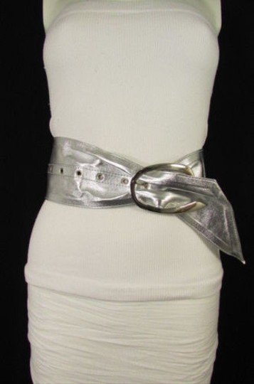 Other Women Fashion Metallic Silver Wide Fabric Fashion Belt Big Buckle 28-35