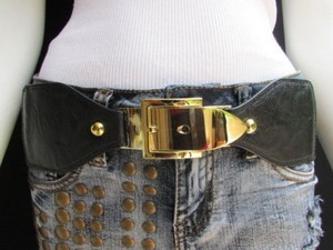 Other Women Waist Hip Black Elastic Fashion Belt Classic Gold Buckle 27-33