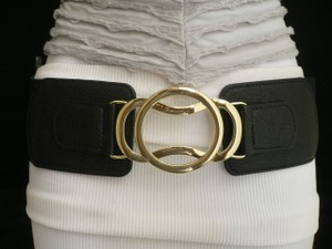 Women Black Elastic Fashion Belt High Waist Low Hip Gold Hook Buckle