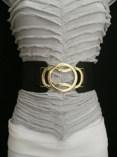 Other Women Black Elastic Fashion Belt High Waist Low Hip Gold Hook Buckle